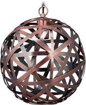 relaxdays hanglamp - rond - plafondlamp - koper - woonkamer - E27 - metaal