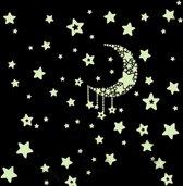 Glow In The Dark Ster / Sterrenhemel Muur Stickers Met Maan Voor Kinderkamer