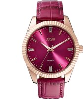 LOISIR dames horloge bordeaux rood - leer - 41 mm - roségoud RVS