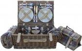 Lavender Schotse Ruit 4 Persoons Ingericht picknickmand met Koeler