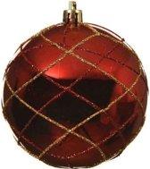 1x Kerst rode/gouden glitter dessin kerstballen 8 cm kunststof - Onbreekbare kerstballen - Kerstboomversiering rood