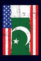 Pakistani American Flag Notebook: 6x9 college lined notebook to write in with the flags of Pakistan and the United States