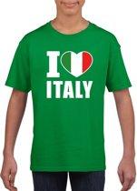 Groen I love Italy supporter shirt kinderen - Italie shirt jongens en meisjes M (134-140)