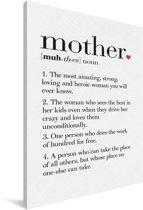Mooi cadeau voor moeder - tekst met definitie Mother Canvas 60x90 cm