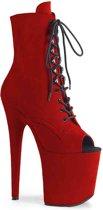 FLAMINGO-1021FS (EU 40 = US 10) 8 Heel, 4 PF Open Toe Lace-Up Ankle Boot, Side Zip