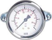 0..10 Bar Paneelmontage Manometer Staal/Messing 100 mm Klasse 1.0 (Beugel) - MW010100SH-TP