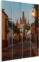 Avond in Mexicaanse stad Hout 80x120 cm - Foto print op Hout (Wanddecoratie)