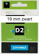 DYMO D2 TAPE 19MMx10M WHITE (zwarte letters op witte tape)   61911