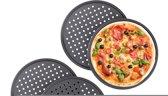 relaxdays 4 x pizzaplaat - pizza bakplaat - rond - antiaanbaklaag - geperforeerd grijs