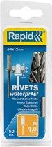 Rapid waterdichte blindklinknagel ø 4 x 12 mm 50 stuks + boor