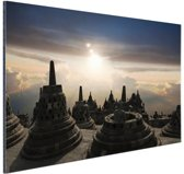Borobudur bij zonsondergang Indonesie Aluminium 30x20 cm - Foto print op Aluminium (metaal wanddecoratie)