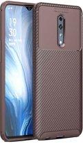 Teleplus Oppo Reno Z Case Negro Carbon Silicone Brown + Nano Screen Protector hoesje