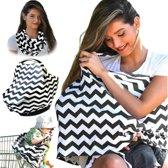 Borstvoedingsdoek - Trendy 3 in 1 borstvoedingsdoek - Verzorgingssjaal – Maxi-cosi Beschermdoek – Stoelbeschermer – Mandje overtrek – Windschermdoek – Cover Sjaal – Borstvoeding Baby verzorgdoek - Zwart