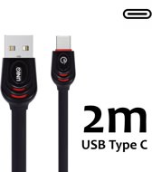 USB C kabel 2 meter Fast Charging/Data Transfer - Zwart USB C Kabel geschikt voor o.a Samsung Galaxy A8 A9 2018  Galaxy S10 S10Plus note 8 9