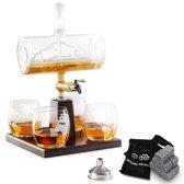 Luxe Whiskey Karaf Set - Decanteerkaraf - Zeilschip Decanteerkan + 8 Whisky Stones & 4 Glazen