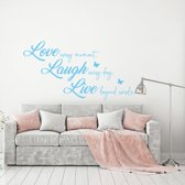 Muursticker Love Laugh Live -  Lichtblauw -  160 x 84 cm  - Muursticker4Sale
