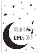 Kinderkamer poster Dream Big Little One DesignClaud - Maan - Zwart wit - A4 poster