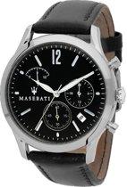 Maserati Tradizione heren horloge met zwart leder band en zwarte wijzerplaat