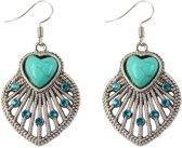 Fako Bijoux® - Oorbellen - Tibetaanse Stijl - Turquoise - Blad Hart