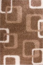 Gunstig Hoogpolig Vloerkleed met Abstract Print -  120X170 cm  - Bruin Beige
