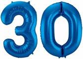 Cijfer 30 ballon blauw 86 cm - 30 jaar folieballon