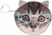 Portemonnee grijze kat/poes blauwe bril 10 x 11 cm