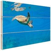 Schildpad zwemmend in oceaan Hout 30x20 cm - klein - Foto print op Hout (Wanddecoratie)