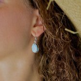 Zilveren oorbellen Larimar