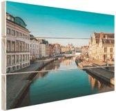 Stad in Europa Hout 80x60 cm - Foto print op Hout (Wanddecoratie)