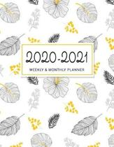 2020-2021 Weekly & Monthly Planner: 2 Year Calendar Schedule, Squares Quad Ruled, Dot Notes, White Black Yellow Leaves, No Holiday (January 2020 throu