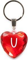 sleutelhanger - Letter U - diamant hartvormig rood