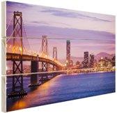 Avondlicht San Francisco Hout 60x40 cm - Foto print op Hout (Wanddecoratie)