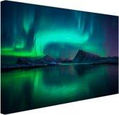 Noorderlicht bij de Lofoten in Noorwegen Canvas 180x120 cm - Foto print op Canvas schilderij (Wanddecoratie)