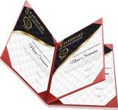 Rapportmap / Diplomamap / Certificaat Mappen - 4x A4 - Houtpatroon Rood