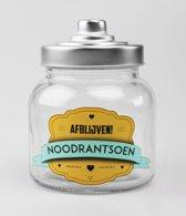 Snoeppot - Noodrantsoen - Gevuld met luxe verpakte toffees - In cadeauverpakking met gekleurd lint