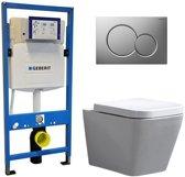 Geberit UP 320 Toiletset - Inbouw WC Hangtoilet Wandcloset - Alexandria Sigma-01 Mat Chroom