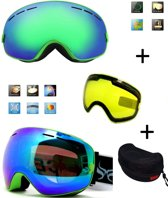 Ski bril met box en EXTRA lens Smoke Green frame Groen F type 5 Cat. 0 tot 4 - ☀/☁