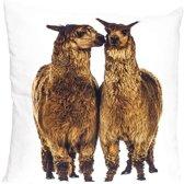 canvas kussen alpaca's bruin 50x50cm