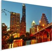De brug van het verlichte Austin in de avond Plexiglas 30x20 cm - klein - Foto print op Glas (Plexiglas wanddecoratie)