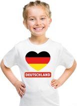Duitsland kinder t-shirt met Duitse vlag in hart wit jongens en meisjes XS (110-116)
