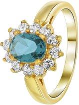 Lucardi - Nouveau Vintage - Goldplated ring jeans blue met zirkonia