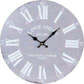 Clayre & Eef Klok Love Shine grijsblauw 34x4 cm - grijs
