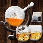 Handgemaakte Wereld Thema Whiskey Set Ideaal als Cadeauset - Decanter Boot Karaf, Stones, Glazen