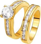 Eve Gold Plated 2 Delige Ring - Met Zirkonia - Maat 53