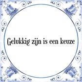 Tegeltje met Spreuk (Tegeltjeswijsheid): Gelukkig zijn is een keuze + Kado verpakking & Plakhanger