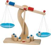 WEEGSCHAAL 30x10x 31cm, met 6 gewichtjes, in hout, 3+