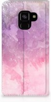 Samsung Galaxy A8 (2018) Standcase Hoesje Design Pink Purple Paint