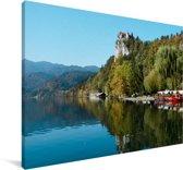 Kasteel en meer van Bled Ljubljana in Slovenië Canvas 180x120 cm - Foto print op Canvas schilderij (Wanddecoratie woonkamer / slaapkamer) XXL / Groot formaat!