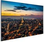 FotoCadeau.nl - Skyline parijs bij nacht Aluminium 90x60 cm - Foto print op Aluminium (metaal wanddecoratie)