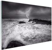 FotoCadeau.nl - Storm op zee  Glas 120x80 cm - Foto print op Glas (Plexiglas wanddecoratie)